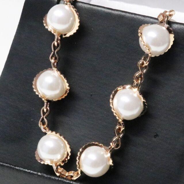 Handmade Akoya White Round Pearl Bracelet Women Jewelry 14K Rose Gold Plated