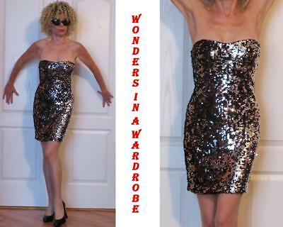 BLACK & SILVER STRETCH SEQUINED STRAPLESS BANDAGE BODYCON MINI DRESS S (XS)