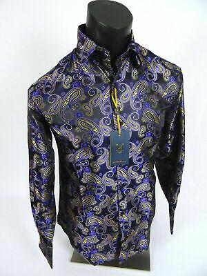 Mens MANZINI Button Dress Shirt Gray and Light Blue Paisley/'s Sheen French Cuff