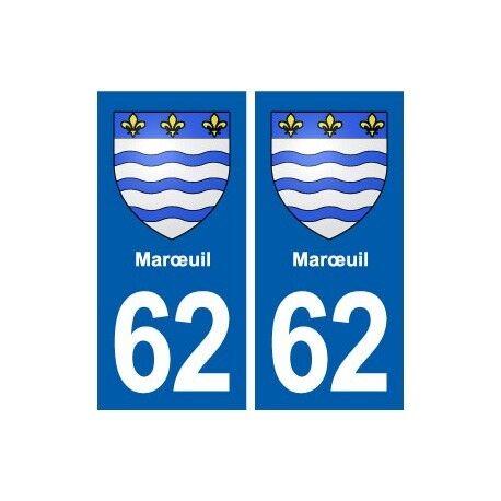 62 Marœuil blason autocollant plaque stickers ville -  Angles : droits