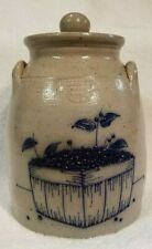 Salmon Falls Stoneware Blueberry Basket Crock Lid 1993 Blue Gray Salt Glaze 9""
