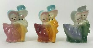 VINTAGE SHAWNEE POTTERY DANCING COUPLES - THREE PLANTERS