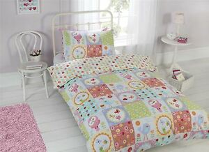 FLOWERS-BIRDS-PATCHWORK-PINK-WHITE-SINGLE-COTTON-BLEND-DUVET-COMFORTER-COVER