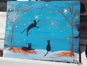 Primitive-Folk-Art-Painting-Fall-Black-Cats-Winter-Snowflakes-Cat-Kitten-HP