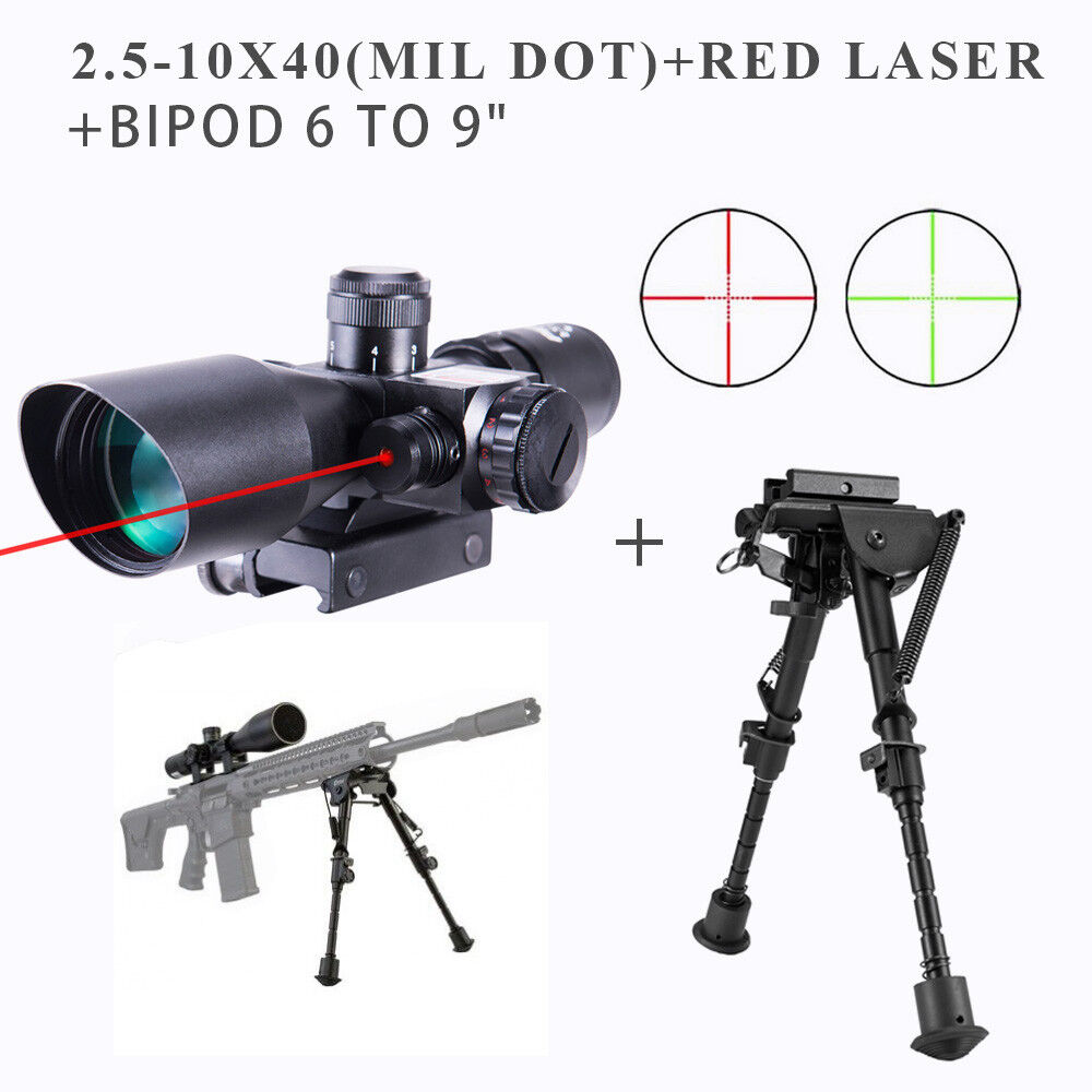 2.5-10x40 Tactical Rifle Scope Red Green Mil-dot illuminated Red Laser Mount wfs