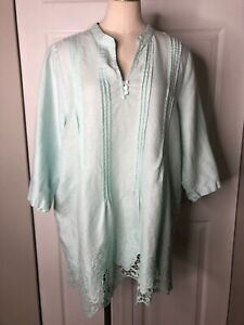 Symple-NYC-Womens-1X-Green-Linen-Embroidered-3-4-Sleeve-Tunic-Top-Shirt-D