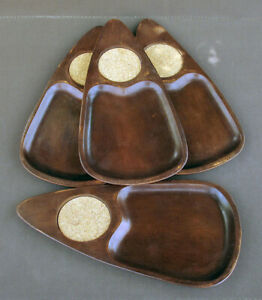 Set-4-Vtg-Serv-Wood-Mid-Century-MCM-Snack-Trays-with-Coasters-Hand-Carved-Japan