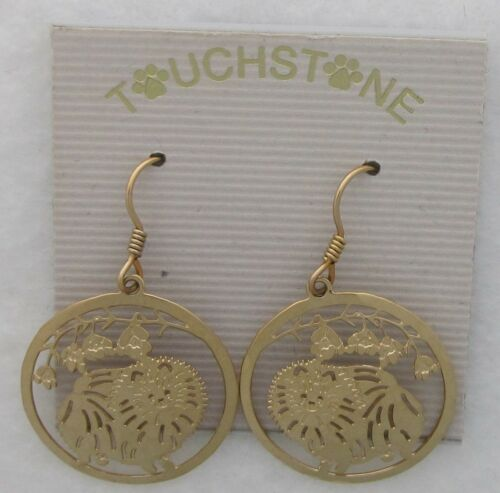 Pomeranian Jewelry Gold Dangle  Earrings