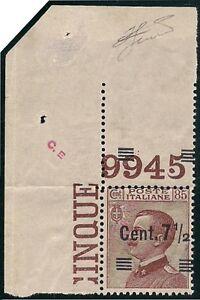 REGNO-1927-7-1-2-c-n-136h-MICHETTI-VARIETA-039-NUMERO-DI-TAVOLA-9945