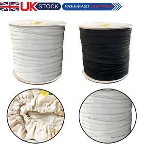 Cordón Elástico Elástico Bungee Cuerdas 5mm 6mm para artesanías de Tela Negro Blanco