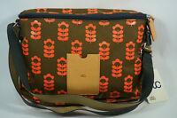 Orla Kiely Printed Nylon Mini Box Bag Little Sweetpea Coral Flash Brown