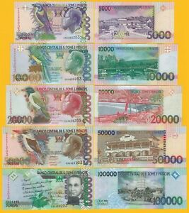 Saint-Thomas-amp-Prince-Sao-Tome-Full-Set-5000-10000-20000-50000-100000-Dobras-UNC