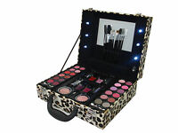 Professional Vanity Case Pink Light Up Cosmetic Makeup Box Travel Carry Gift Set
