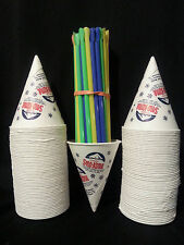 Snow Cone Cups 100 Gold Medal Brand With Spoon Straws