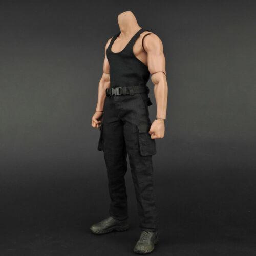 """1//6 Scale Male Tactical Suit Black Vest//Pants//Belt for 12/"""" Action Figure Body"""