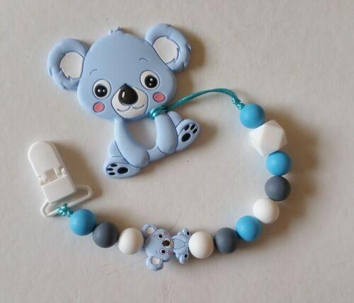 Koala Oso de silicona de Bebé Niño Anillo de dentición//Soporte Clip Chupete//Falso Conjunto de Regalo