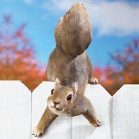 Charming Squirrel Fence Sitter Garden Statue Decoration
