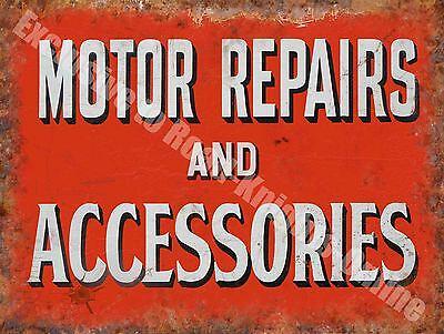 Motor Repairs and Accessories, 143 Vintage Old Car Garage, Large Metal Tin Sign