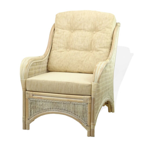 Jam Rattan Wicker Living Set 3pc Coffee Table 2 Chairs w//Cream Cushions
