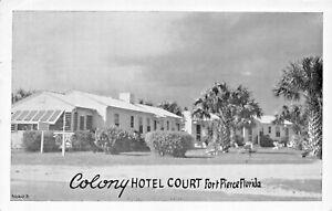 FORT-PIERCE-FLORIDA-COLONY-HOTEL-COURT-MRS-KRETSCHMER-OWNER-1954-PSTMK-POSTCARD