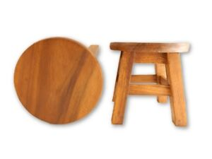 Childs childrens wooden stool plain top step stool. ebay