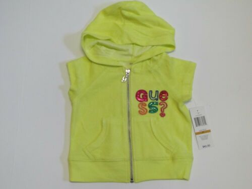 NWT GUESS Short Sleeve Terrycloth Hoodie Jacket w Sequins Toddler Girls 3T $42