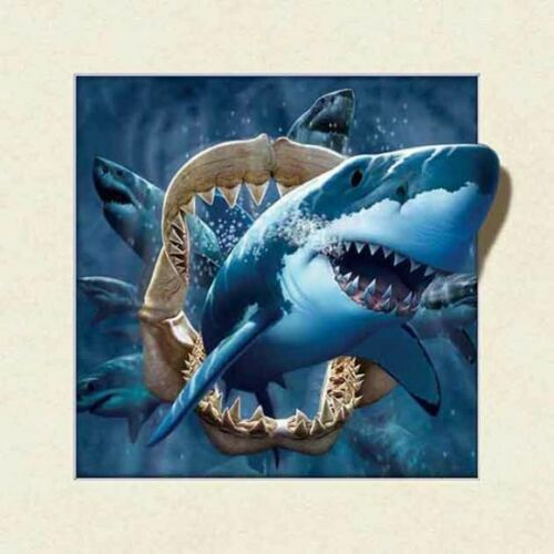 5D Lenticular Picture w// Frame Sharks /& Dolphins 18x18 frame size
