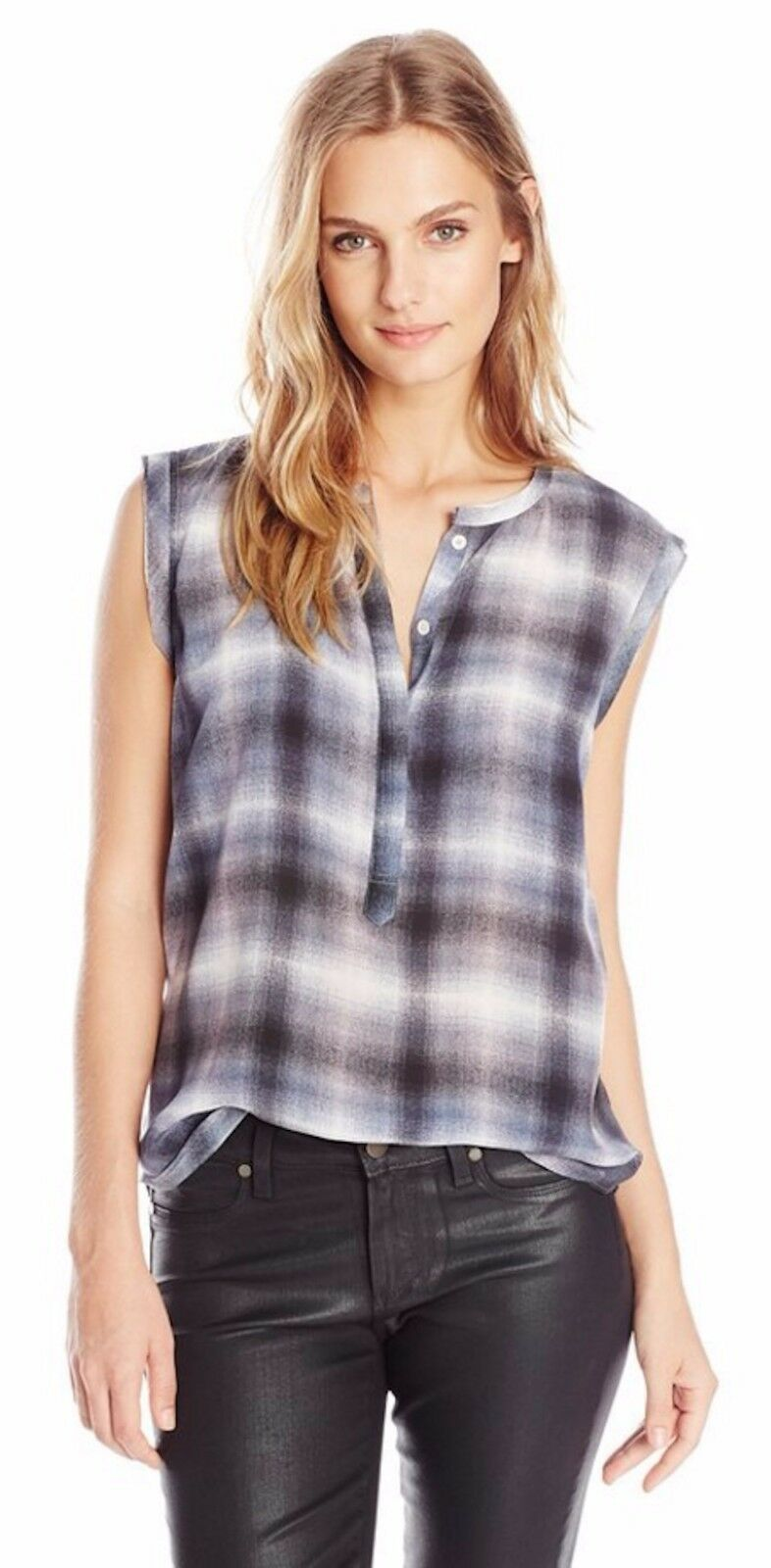 NWT REBECCA TAYLOR Berry Shadow Plaid Silk Popover Top SPRING SUMMER 2 XS