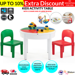 Round Kids Activity Table Chairs, Round Lego Table With Chairs