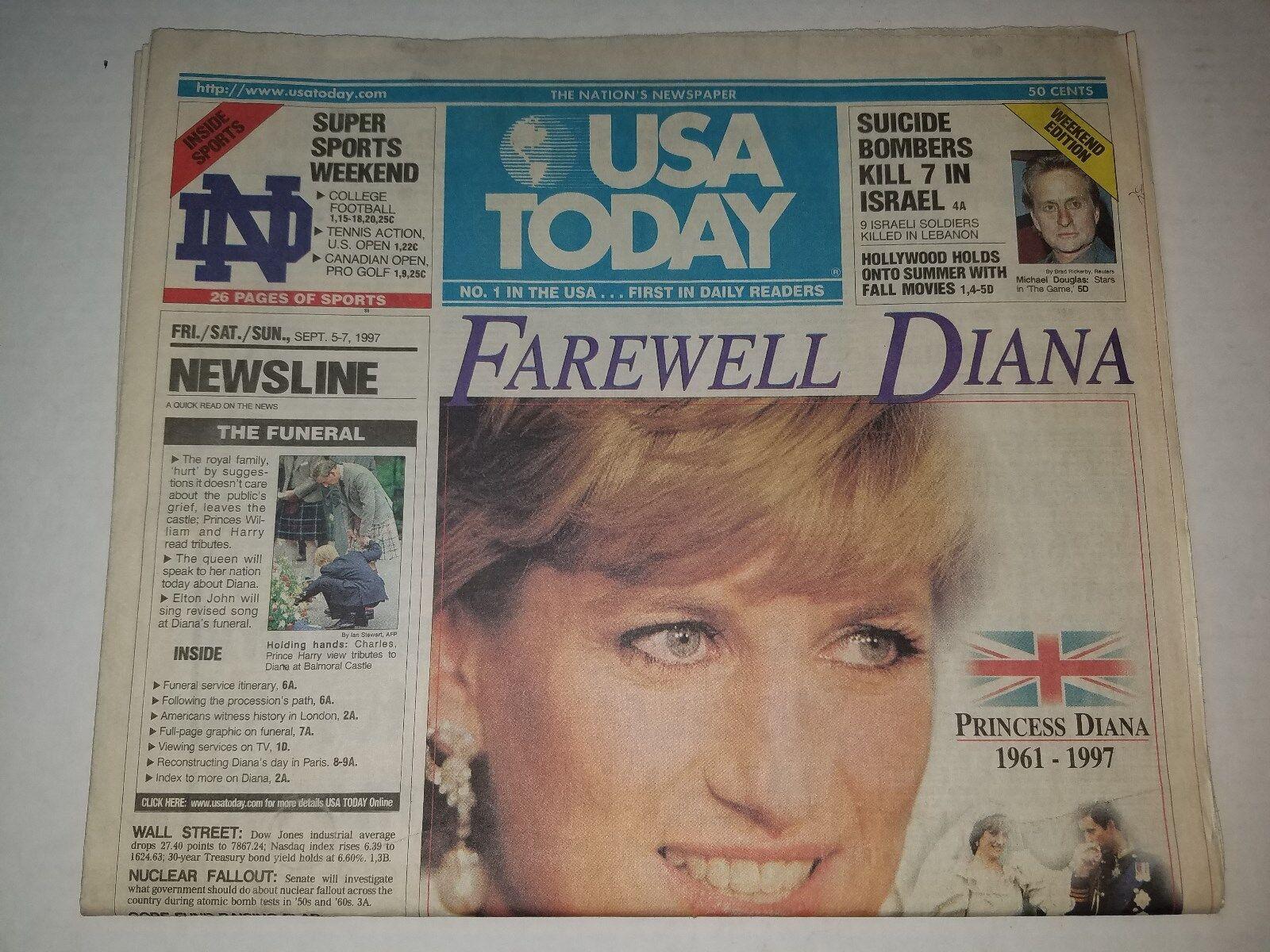 princess diana death newspaper coverage usa today september 5 7 1997 for sale online ebay princess diana death newspaper september 7 1997 usa today funeral edition