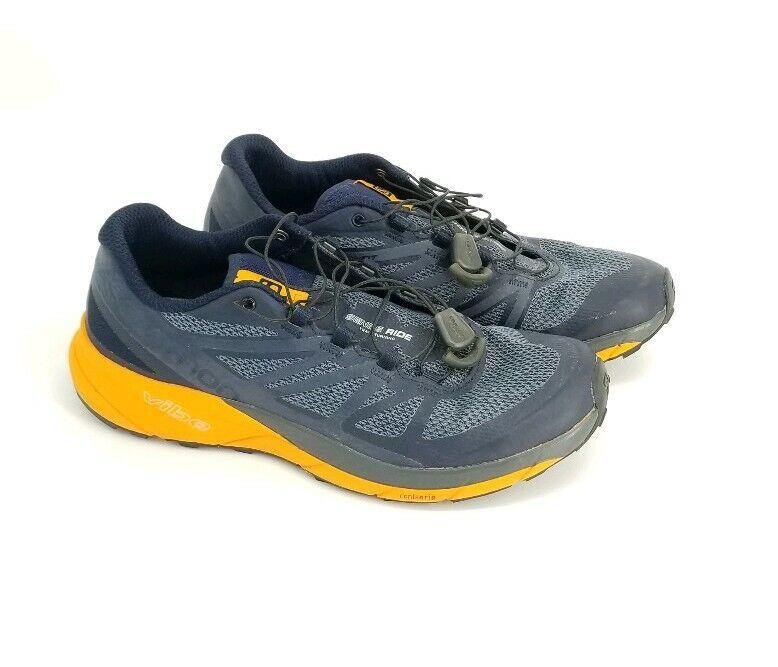 Salomon Mens Sense Ride Trail Running shoes SensiFIT Grey orange Quicklace