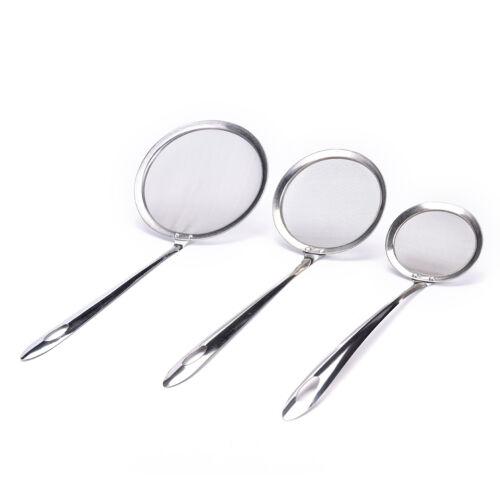Kitchen Stainless Steel Wire Fine Mesh Oil Strainer Flour Colander Sifter Sie TS