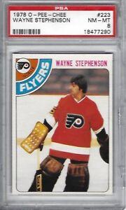 1978-O-PEE-CHEE-223-Wayne-Stephenson-Philadelphia-Flyers-NHL-PSA-8-NM-MT