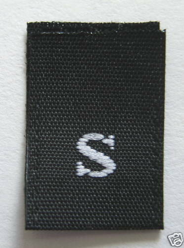250 pcs WOVEN CLOTHING LABELS SIZE TAGS BLACK SMALL