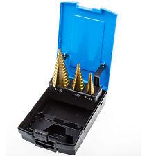 Stufen Bohrer Set 4-30 mm 3-tlg. Titan nitriert Stufenfräser Satz