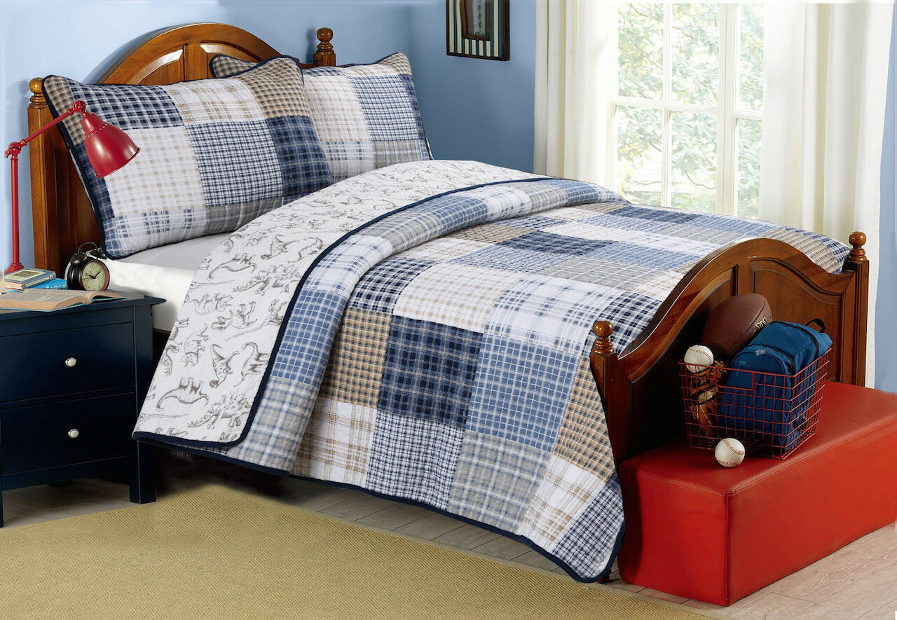 Benjamin Plaid Reversible 100%Cotton Quilt Set, Bedspread, Coverlet