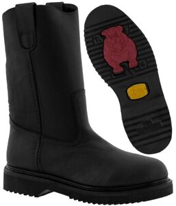 Mens Black Leather Tough Work Boots Oil
