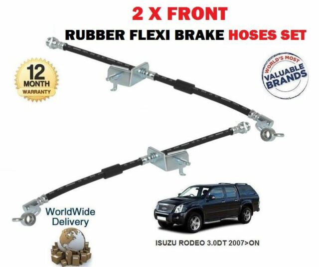RIGHT BRAKE FLEXI RUBBER HOSE FOR ISUZU RODEO 3.0DT 2007-/>NEW 2 X FRONT LEFT