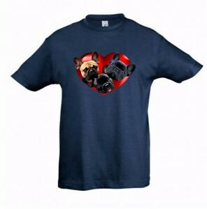 French Bulldogs in Heart Kids Dog-Themed Tshirt Childrens Tee Check Measurements