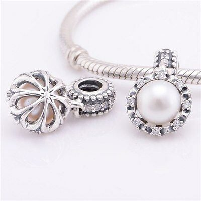 PEARL BRILLIANCE 925 Sterling Silver Solid Charm Bead for Bracelet