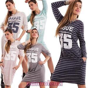 Vestito-donna-abito-miniabito-maximaglia-sport-righe-cotone-tasche-nuovo-CC-1203