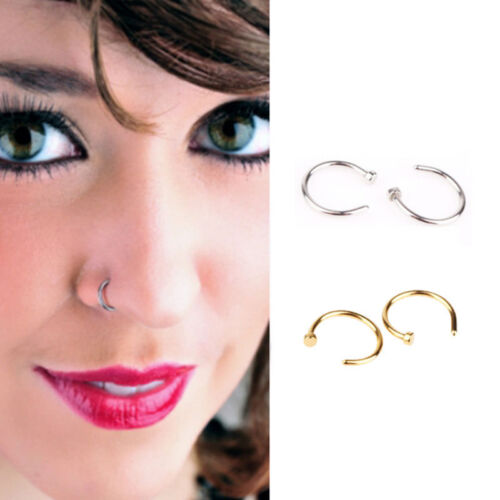 10X 10mm Dia Small Thin Surgical Stainless Steel Nose Ring Hoop Piercing Stud HQ
