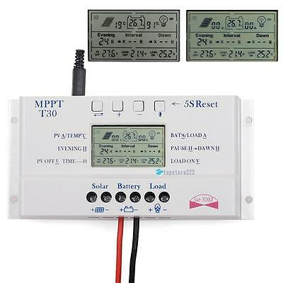 LCD 10/20/30/40A 12V/24V MPPT Solar Panel Regulator Charge Controller 3 Timer TR