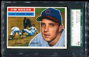 1956-Topps-Bastball-48-JIM-HEGAN-Clevland-Indians-WHITE-SGC-84-NM