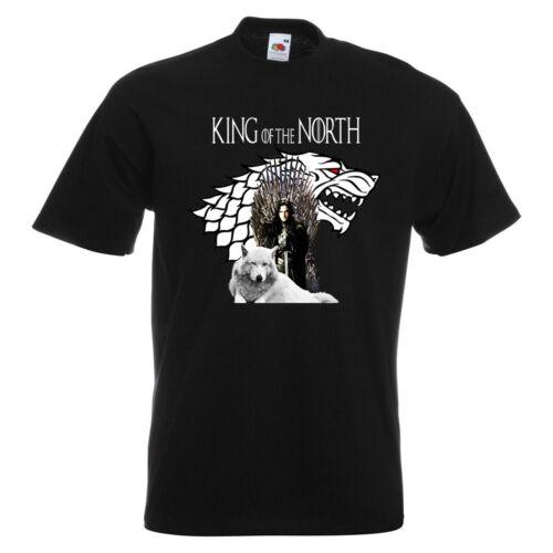 Game Of Thrones Jon Snow Wolf Mens PRINTED T-SHIRT GOT Direwolf Crow King North