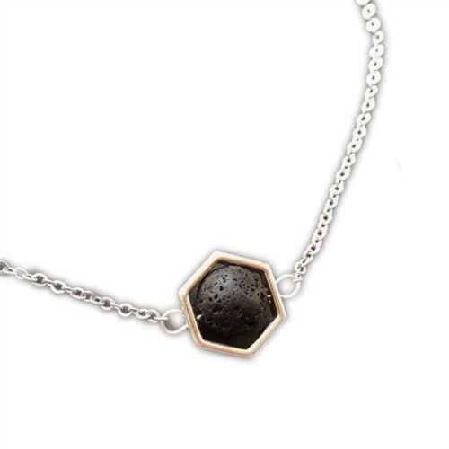Hexagon /& Lava Essential Oil Necklace Diffuser Lava Rock Aromatherapy Jewelry
