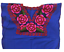 Floral-Mexican-Blouse-Embroidered-Authentic-Handmade-Cotton-Blue thumbnail 2