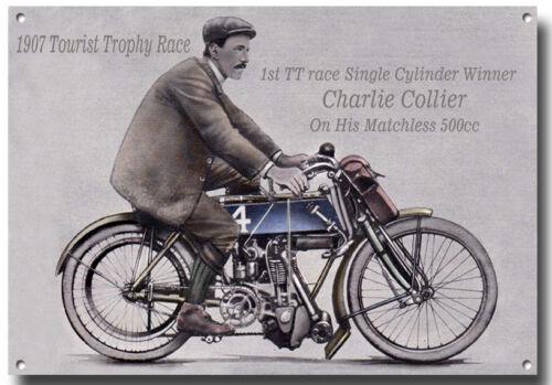 WINNER 1907 TOURIST TROPHY RACE METAL SIGN.1ST TT ROAD RACE CHARLIE COLLIER