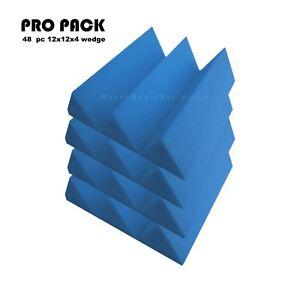 Acoustic-Foam-48pcs-PRO-PACK-Blue-Wedge12X12x4-034-Soundproof-Studio-Recording-tile