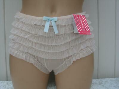KNICKERS PALE PEACH UK SIZES 10 12 FRILLY RUFFLED SOFT MESH STRETCH PANTIES BNWT